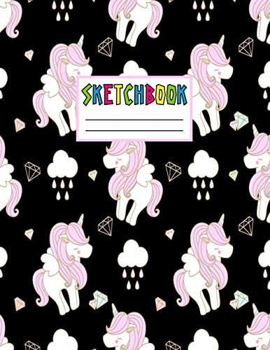 Sketchbook: Cute Unicorn Kawaii Sketch Book for Girls, Kids, Teens, Women (Perfect for Sketching, Drawing, Doodling, Journal, Note Pad, Birthday Party Favors)