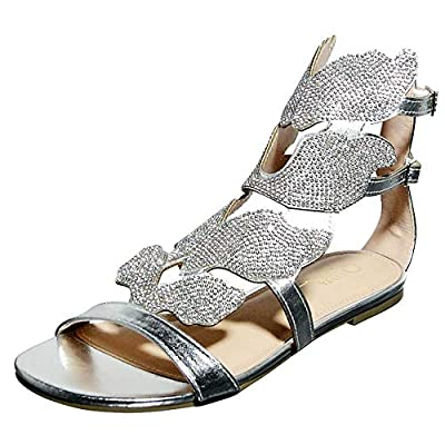 Women's Open Toe Strappy Gladiator Roman Rhinestone Covered Leaf Flame Wings Comfort Ankle Flat Sandal Shoes (8, Silver)