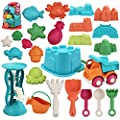 JOYIN 24 Pieces Beach Sand Toys Set with Mesh Bag Including Bucket, Car, Shovels, Rakes, Watering Can, Molds for Kids Summer Outdoor Beach Fun