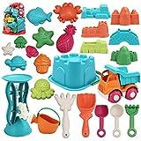 JOYIN Juego de 25 juguetes de arena de playa con bolsa de malla que incluye cubo, coche, palas,...