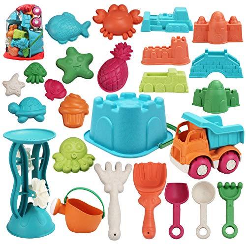 JOYIN Juego de 25 juguetes de arena de playa con bolsa de malla que incluye cubo, coche, palas, rastrillos, regadera, moldes para niños, verano, playa, diversión