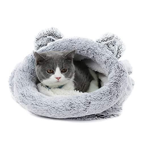 PAWZ Road Katzen Schlafsack waschbar bequem Haustier Kissen Katzenbett Kuschelhöhle aus Fleece für Katzen Silber grau