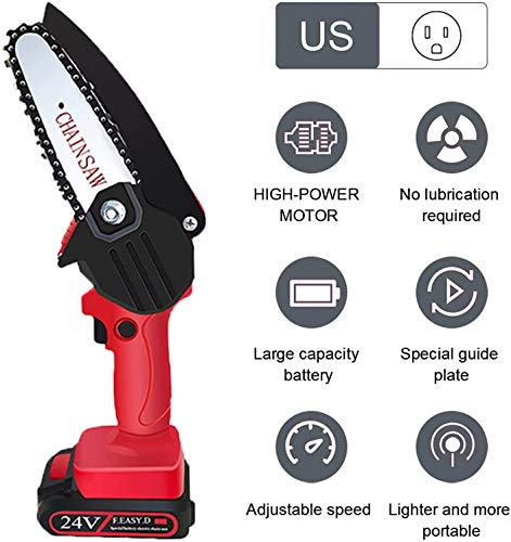 HOPELIGHT 4 Inch Mini Chainsaw with Brushless Motor, Hand Chainsaw with 24V Rechargeable Battery, Pruning Shears Chainsaw for Tree Branch Wood Cutting