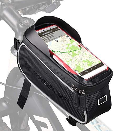 """Tricodale Borsa Telaio Bici, Borsa Manubrio Bici 6.3\"""" Impermeabile Borsa Porta Telefono Bicicletta (con Cover Protettiva) Supporto Bici Decathlon/MTB/BMX, Accessori Bici Corsa - Nero"""
