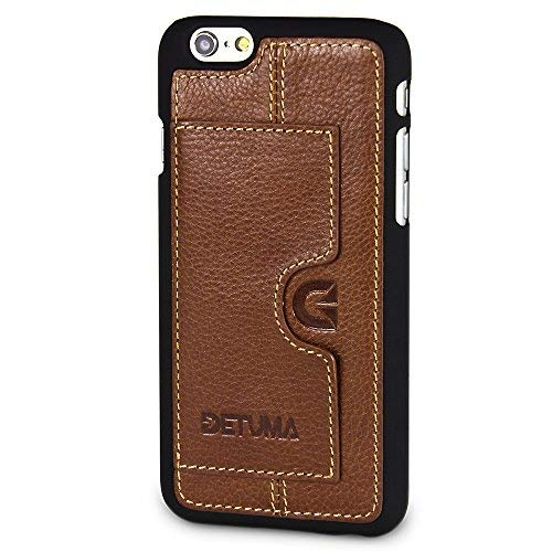 DETUMA - Funda de Piel para iPhone 6S/6 con Tarjetero, Compatible con Apple iPhone 6S / iPhone 6 (Fabricado en Piel.), Color marrón