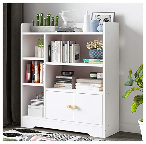 Ketuan Combination Bookcase with 2 Door Cabinet and Multi Rack - White Multi-Layer Organizer Display Shelf - Simpleness Combination Bookshelf for Bedroom Office Living Kids Room (White)