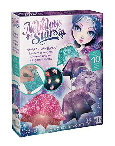 Nebulous Stars NS11020 Kreativset Laterne, Bastelset für eine Lichterkette, mit gefalteten Sternen aus Origami Papier, für Mädchen ab 7 Jahre, bunt