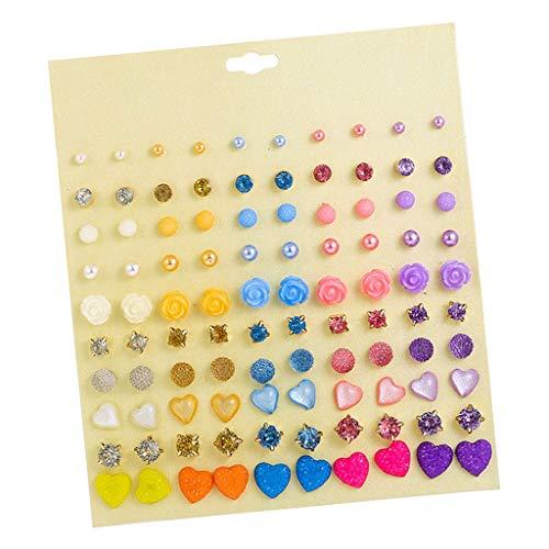 SDENSHI 50 Pares de Aretes de Perlas de Cristal, Pendientes Coloridos, Joyería de Boda