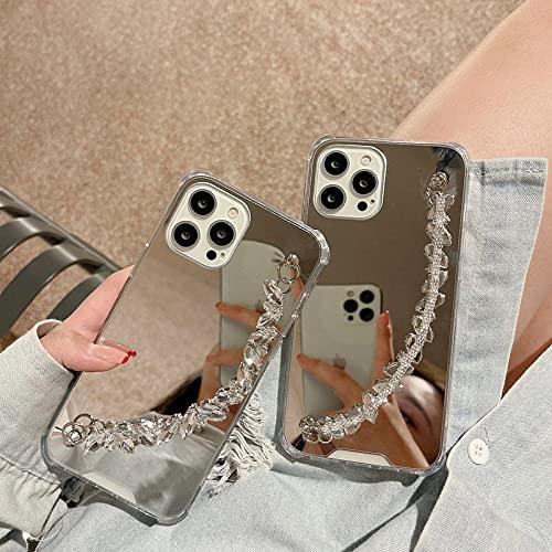 LIUYAWEI Protezione paraurti Specchio Custodia per Telefono 2 in 1 per iPhone 12 7 8 Plus X XS XR Max 11 PRO SE 2 6Cover per Bracciale con Diamanti, Custodia con, per iPhone 11pro