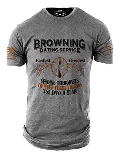 Grunt Style Browning Dating Service Men's T-Shirt (X-Large) Grey