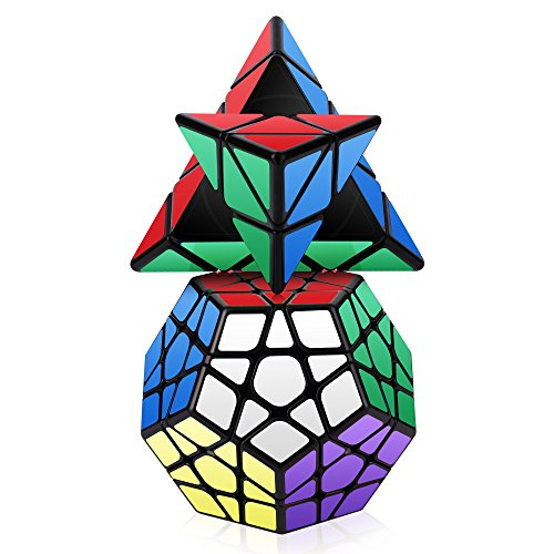 Roxenda Speed Cube Set, Magic Cube Set of Pyramid Megaminx Cube Smooth Triangle Pentagon Speedcube