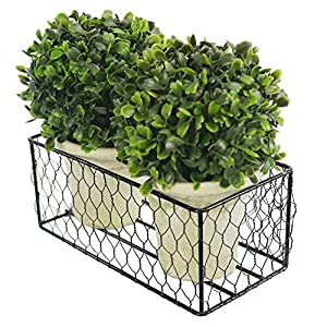 Admired By Nature Artificial Topiary Ball, 2 Pack 5 inches Faux Boxwood Bal Potted Plant, Green, 2 Count