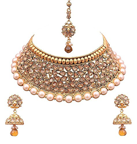 [FREE SHIPPING 8-12 WORKING DAYS] Gold Plated Antique Rajwadi Fashion/Imitation Jewellery Stone Choker Necklace Set for Girls and Women for Wedding and Festivals