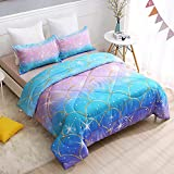 SIRDO Pink Blue Kids Mermaid Scale Comforter Sets Twin Size Rainbow Girls Bedding Sets Clolorful Scale Golden Border Sparkly Stars Quilt Set Cute Blanket Bedspread