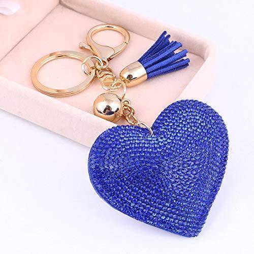 shenlanyu Llavero de moda de corazón hecho a mano lindo llavero de cristal para las mujeres del coche colgante de niña declaración de diamantes de imitación bolsa de joyería llavero anillo