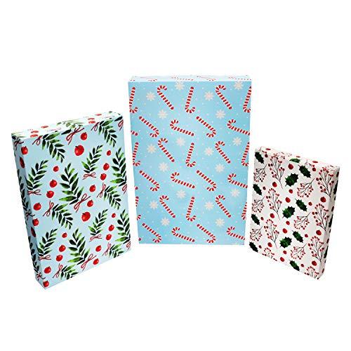 Caja Regalo Navidad (Pack de 24) 350 GSM, 3 Tamaños Caja Kraft Tema Navidad para Regalo - Caja Bonita para Regalo Fiestas Amigo Invisible, Caja Navidad para Familiares y Amigos