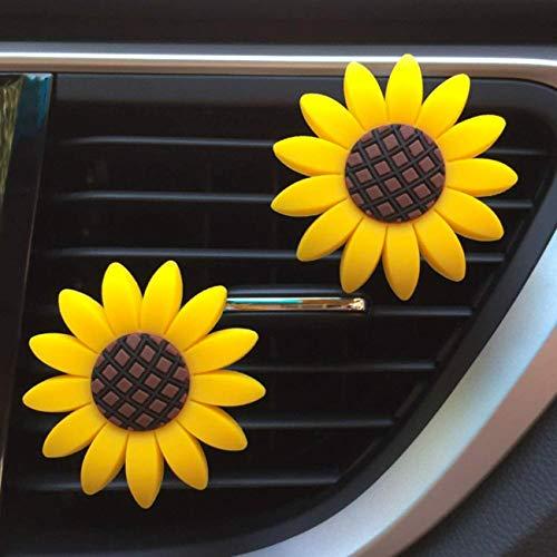 Zadin 2xPACK Sunflower Car Accesories Cute Car Air Freshener Sunflower Air Vent Clips Sunflowers Gift Decorations Girasoles Car Clip Interior Air Vent Decor