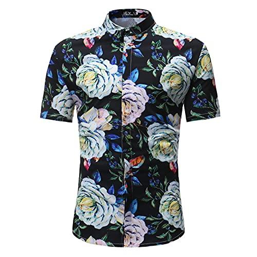 SSBZYES Camisas para Hombres Verano De Manga Corta Camisas De Talla Grande para Hombres Camisas Estampadas Camisetas para Hombres Manga Corta Slim-fit Cuello En Punta Camisas Florales para Hombres