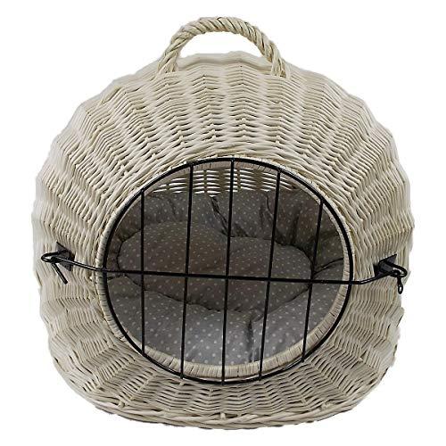 Katzenkorb aus Weide Weiß Gebleicht | Größe S 45x35x44 cm | abnehmbares Metall-Gitter Transportkorb/Transportbox für Katzen Hunde | Katzenhöle