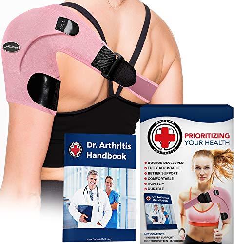Doctor Developed Shoulder Support / Shoulder Strap / Shoulder Brace [Single] & Doctor Written Handbook - Relief for Shoulder Injuries, for both left & right (Pink)