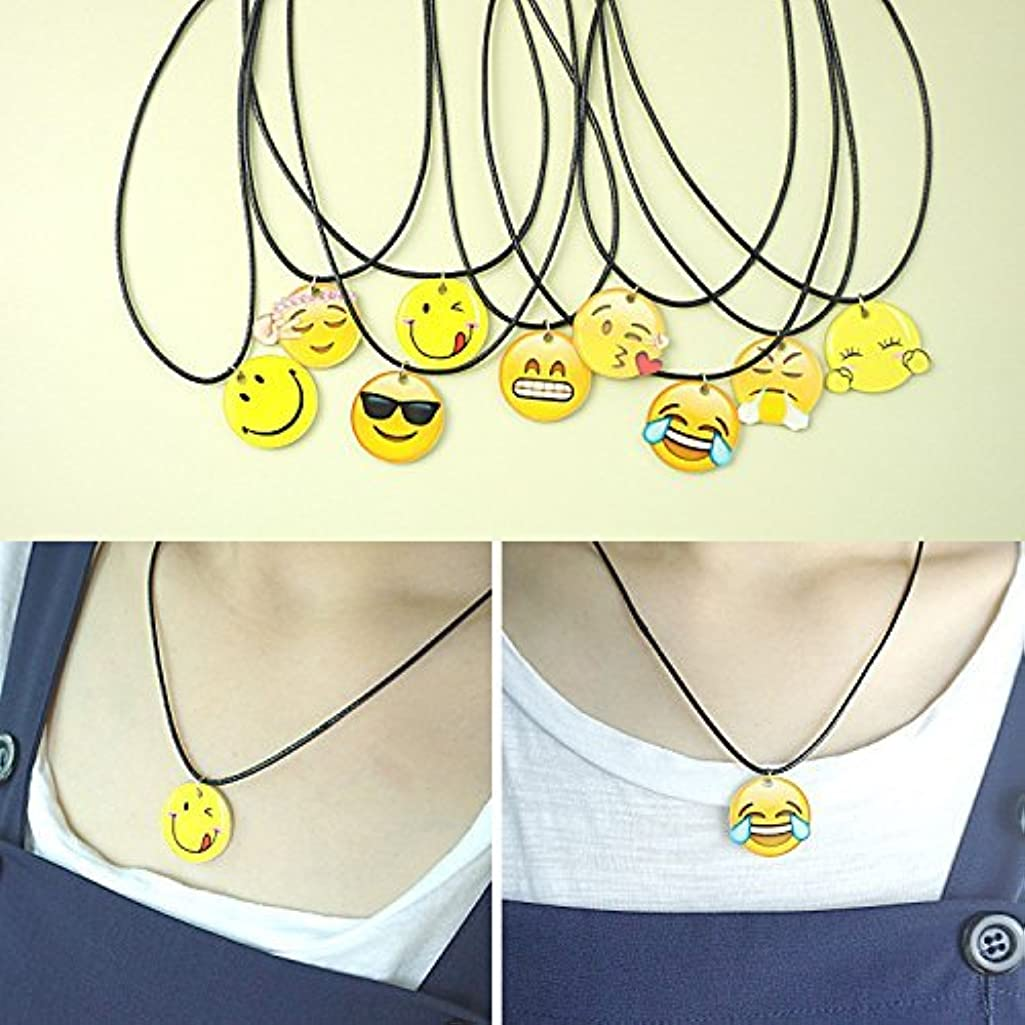 QTMY 9 PC Emoji Smile Slick leather Necklace Sets for Best Friends