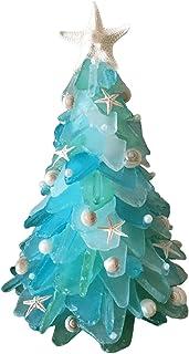 JZENZERO Star Sea Christmas Tree Desktop Resin Christmas Tree Blue and Green sea Glass Christmas Tree Ocean Beach Starfish...