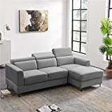 "Velvet Convertible Sectional L-Shape Sofa, Futon Sofa with Adjustable Headrest for Living Room Modern Sofa Couch with Metal Legs and Right Hand Facing Chaise for Small Space, 84""L - Light Gray"