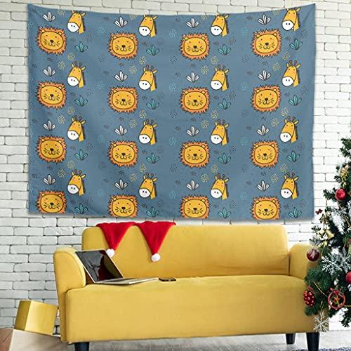 Ballbollbll Tapiz de dibujos animados con diseño de animales de león para colgar en la pared en el hogar, decorar cortinas, ropa de cama, 231 x 149 cm