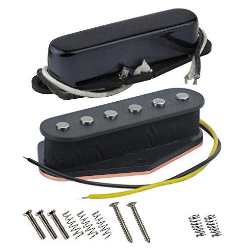 FLEOR Set Vintage Alnico 5 Gitarrenbrücke/Black Neck Pickup (50 mm / 55 mm) Fit Fender Telecaster Style Gitarre