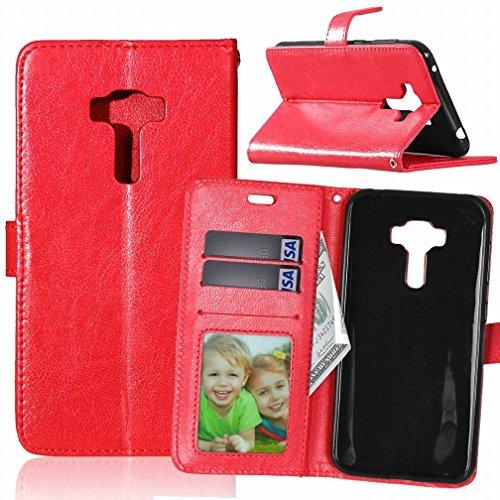 Yiizy ASUS Zenfone 3 ZE552KL Funda, Bastidor Diseño Billetera Carcasa Estuches PU Cuero Cover Cáscara Protector Piel Ranura para Tarjetas Estilo (Rojo)