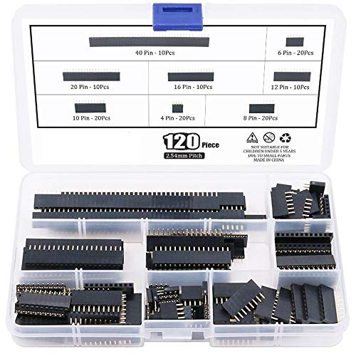 ICQUANZX 120 stks 2.54mm rechte enkele rij printplaat vrouwelijke pin header socket connector strip assortiment kit voor prototype schild (enkele rij)