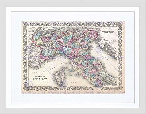 Wee Blue Coo Mooie 1855 Eerste Editie Colton Kaart Noord-Italië Omlijst Muur Art Print