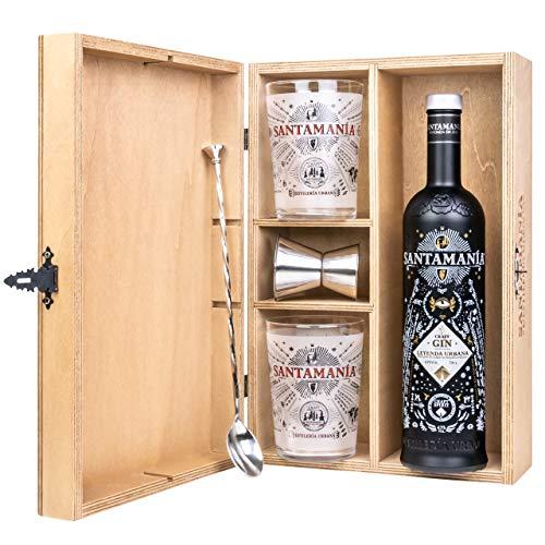 SANTAMANIA Leyenda Urbana Gin – Wooden Gift Case