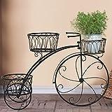 CLX Support De Fleur en Métal Vélo Porte Plante Décoratif Jardinière Fer Forgé pour Jardin, Terrasse, Véranda Ou Intérieur,Noir
