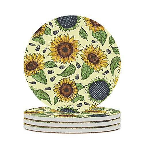 Perstonnoli Posavasos redondos con diseño de girasol y plantas, de cerámica, con base de corcho, 4 unidades, para bebidas, tazas, bares, cristal, 10 cm, color blanco, 6 unidades