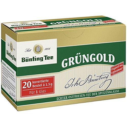 Bünting Tee Grüngold, 20 Tassenbeutel, kuvertiert, 1er Pack