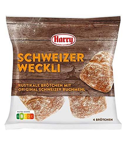 Harry Brot Schweizer Weckli 4 Brötchen = 280 g Rustikales Brötchen mit Orginal Schweizer Ruchmehl zum Fertigbacken