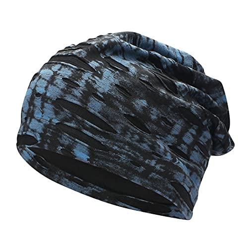 ManxiVoo Tie-Dyed Slouchy Skull Cap Knit Beanie Baggy Hat Stretch Head Wrap Caps for Men Women (Navy)