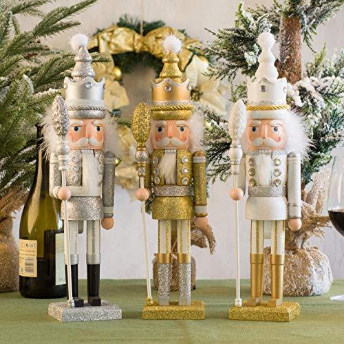 JKC Nussknacker, Weihnachtsdekoration, groß, 42 cm, Gold/Weiß/Silber, Nussknacker, Weihnachtsdekoration, Ornamente für Schreibtisch-Dekoration, Holzwalnüsse, Soldaten, Bandpuppen (3 Stück)