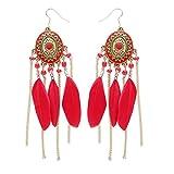 Pendientes de gota de borla de plumas, bohemios para mujer, vintage, con plumas largas, con flecos Rojo