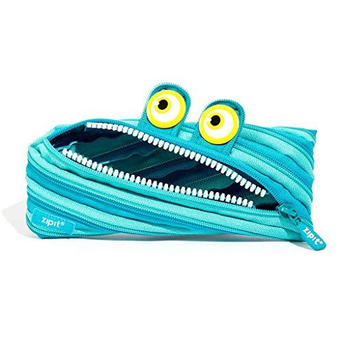 ZIPIT Wildlings Federmäppchen für Jungen - federmappe für bis zu 30 Stifte, Maschinenwaschbar - hergestellt aus einem einzelnen langen Reißverschluss! (Blau)