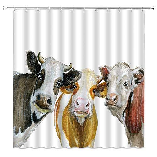 BSTDS Duschvorhang mit Kuh-Motiv, bunt, Bauernhaus, Tiermuster, Malerei, Kunst, Badezimmer, Dekoration, Polyestergewebe, schnell trocknend, 177 x 178 cm, inklusive Haken