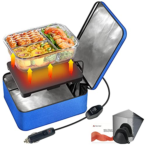 SabotHeat Portable Car Microwave - 12V 90W Mini Personal Car Oven with On/Off Switch for Reheating & Raw Food Cooking, Fast Heating Food Warmer for Trip, Outdoor Work, Camping (Blue)