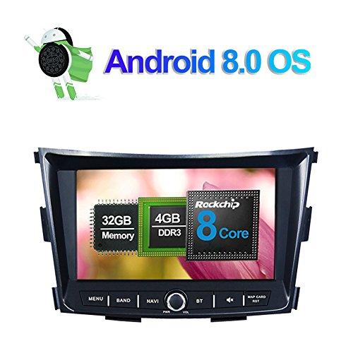 8 pulgadas Android 8.0 Octa Core 4GB RAM Radio estéreo del coche para Ssangyong Tivoli 2015- con Reproductor multimedia Soporte navegación GPS AM FM RDS Bluetooth WIFI AV-Out Entrada de cámara