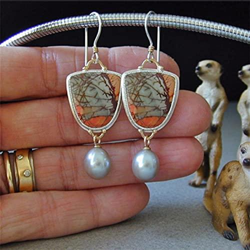 TYUTYU Pendientes Delicado Colorido Resina Piedra Perla Gota para Las Mujeres Vintage joyería Boda cuelga Pendiente (Metal Color : 0378)