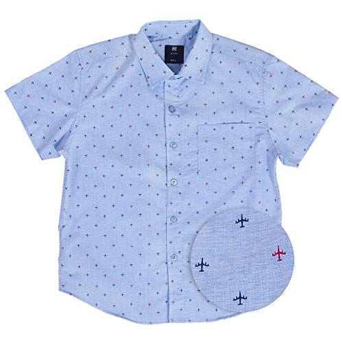 Visive Hawaiian Shirts for Boys Short Sleeve Printed Button Up Shirt Light Blue Airplane,Medium