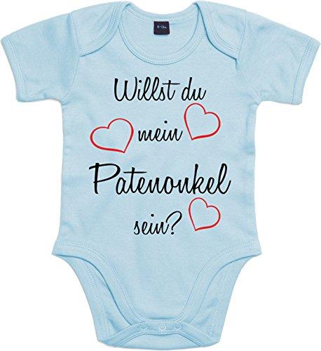 Mister Merchandise Mister Merchandise Baby Body Willst du mein Patenonkel sein? Strampler liebevoll bedruckt Pate Patenschaft Taufe Hellblau, 0-3