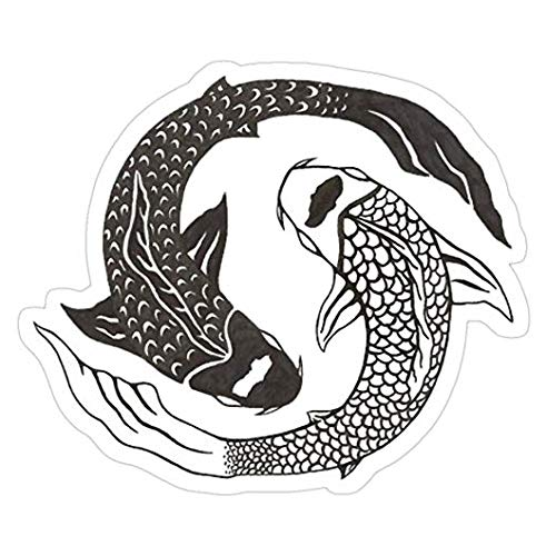Ying Yang Koi Fish Decal Sticker - Sticker Graphic - Auto, Wall, Laptop, Cell, Truck Sticker for Windows, Cars, Trucks
