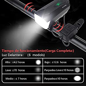 Zacro 2600mAh Luz Bicicleta Delantera y Trasera USB Recargable,IPX4 Impermeable,Luz de Bicicleta con 2 USB Cables,6 Modos de Luces para Ciclismo, Camping y Carretera.
