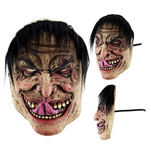 B-Creative HALLOWEEN MASKS - Disfraz de terror de Jason Voorhees espeluznante de látex (pelo negro y lengua)